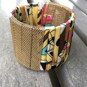 Vintage Fabric and Gold Tone Mesh Cuff Bracelet